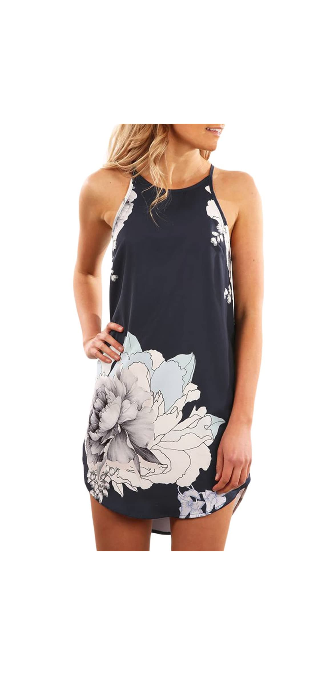 Womens Summer Halter Neck Floral Print Sleeveless Casual