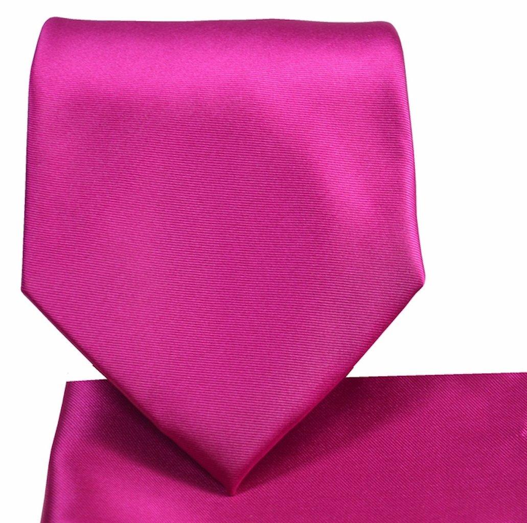 Oliver George Solid Necktie Set (fuchsia) #1010-O