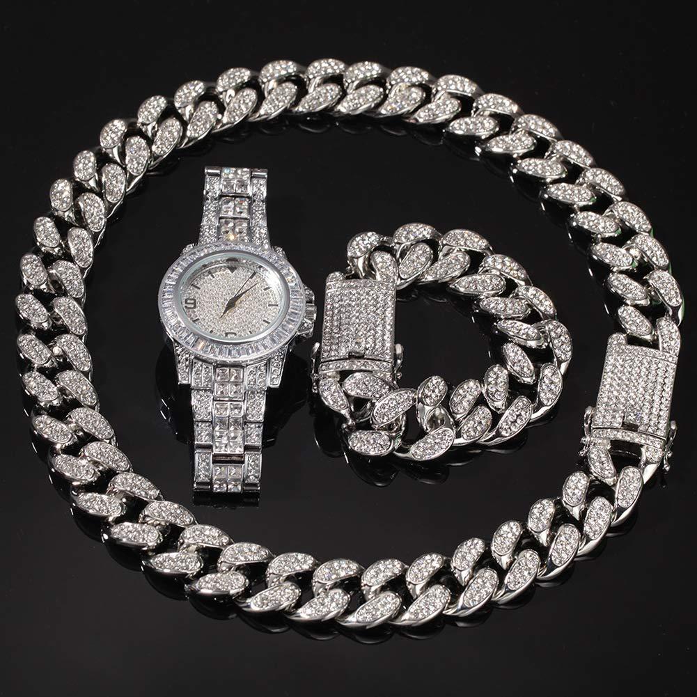 Hip Hop High-End-diamantklocka, förgyllt armband, armbandsur, smycke för män och kvinnor, tredelat presentset (guld, silver) silver
