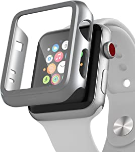 PZOZ Compatible for Apple Watch Series 3 / Series 2 Case with Screen Protector 38mm Accessories Slim Guard Thin Bumper Full Coverage Matte Hard Cover Defense Edge for iWatch Women Men GPS (Silver)