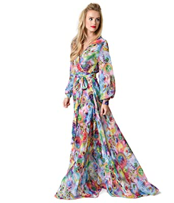 0d2d4367b Unique Vintage 1970s Style Multi Watercolor Floral Long Sleeve Maxi Dress  at Amazon Women s Clothing store