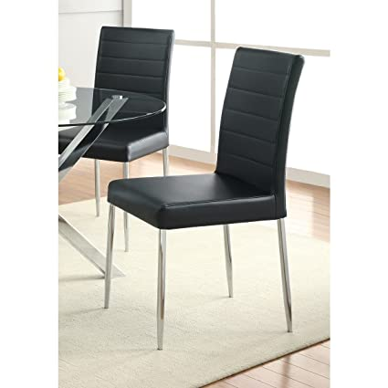 Coaster Home Furnishings Casual Dining Chair, Chrome/Black, Set Of 4