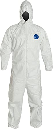 DuPont Tyvek 400 TY127S Disposable Protective Coverall with Respirator-Fit Hood and Elastic Cuff, White, X-Large (Pack of 25)