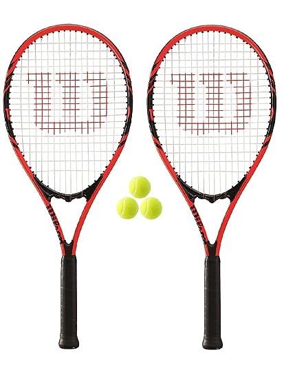 Wilson Federer 110 - Raquetas de tenis (2 unidades, L3, incluye 3 pelotas