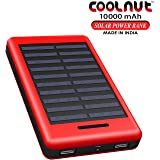 FNS Coolnut 10000mAh Solar Power Bank With Solar Panel (Red)