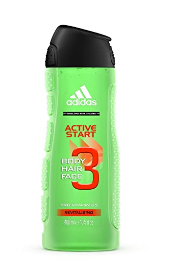 best loved c7566 47843 Amazon.com  Adidas 3 in 1 Pro Vitamin B5 Active Start Shower Gel, Shampoo  + Face Wash 400 mL with Free Ayur Soap  Beauty