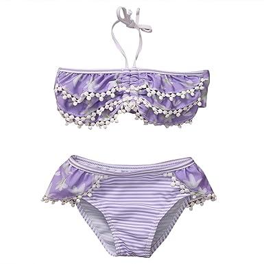 ccecb9cacf UK Stock Baby Kind Mädchen Violett Farbe Zwei Stück Bikini Badeanzug Strand  Badeanzug (1-