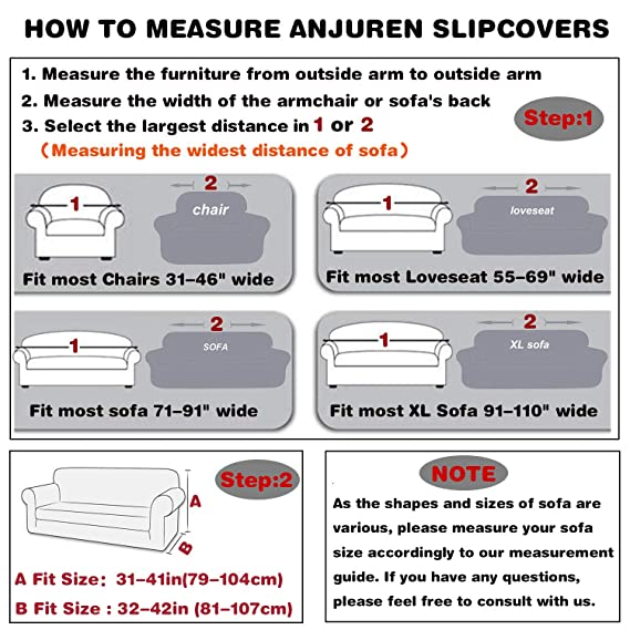 ANJUREN Sofa Loveseat Couch Chair Slipcover Cover 1 Piece 1 Seater T Cushion Chairs Armchair Slip Cover Shield Protector Stretch Stripes Spandex Living Room Furniture Covers Chair, Coffee