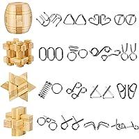 Yideng 20 Piezas Mini Rompecabezas de Metal y Juego de Rompecabezas de Madera IQ Toys IQ Test Mind Game Toys 3D Metal…