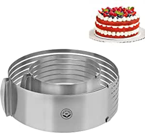 """NewlineNY Stainless Steel 2 Pieces Cake Slicer Adjustable Multilayer Circular Molding Plating Forming Round Cake Rings, Set of 2 (10 to 12"""" + 6 to 8"""" x 3.2"""" H)"""