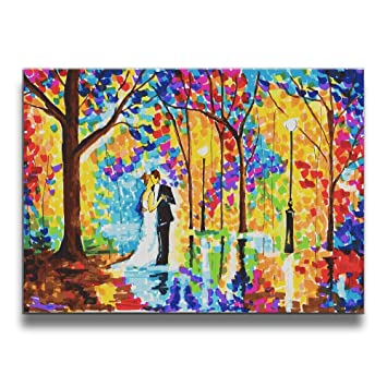 CARRYFUTURE Rainy Wedding Painted Canvas Prints For Home Decorations None Frame Wall Art Painting On
