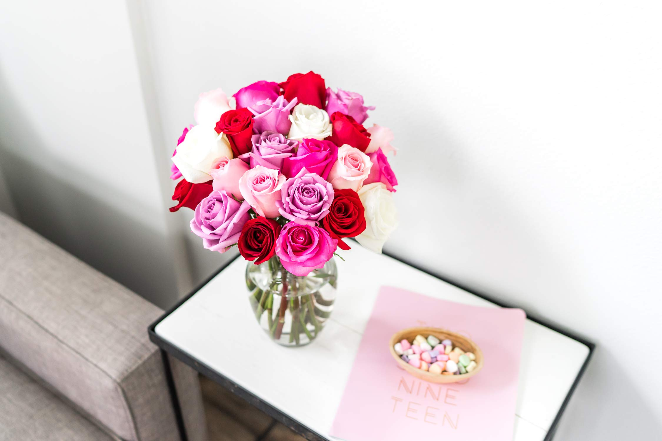 Flowers - 2 Dozen Roses in Red, Pink, Purple & White (Free Vase Included) by From You Flowers (Image #3)