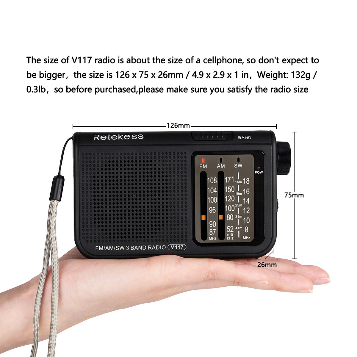 Retekess V117 Portable Am Fm Radio Shortwave Battery 2 Transistor Mini Transmitter Operated By Aa With Dsp 35mm Headphone Jackblack Electronics