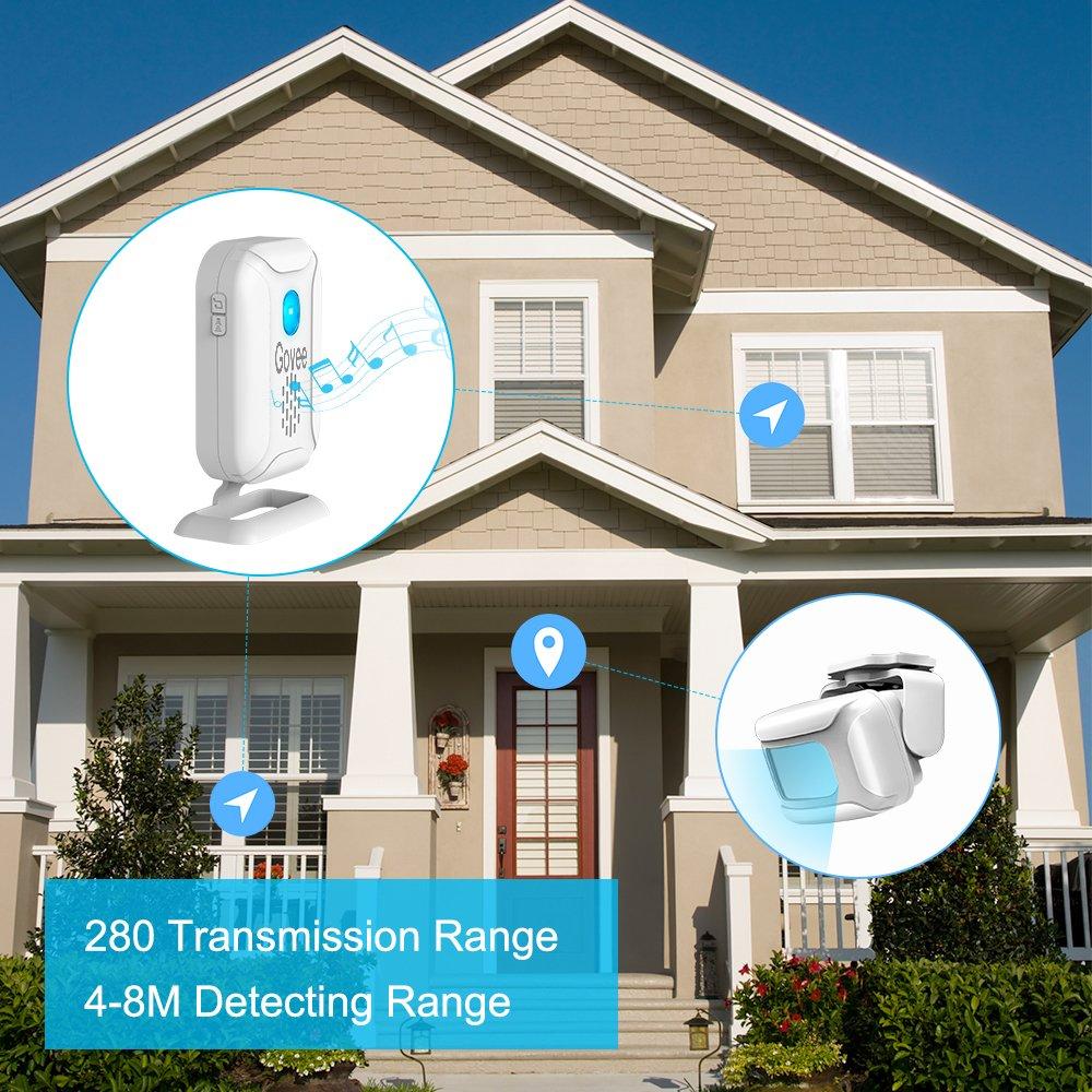 Govee Wireless Motion Detector 1 Receiver /& 1 Motion Sensor Detector,Long Detect Range Motion Sensor Driveway Alarm Security Motion Sensor Alarm 5 Modes Home Security Driveway Alarm Long Range