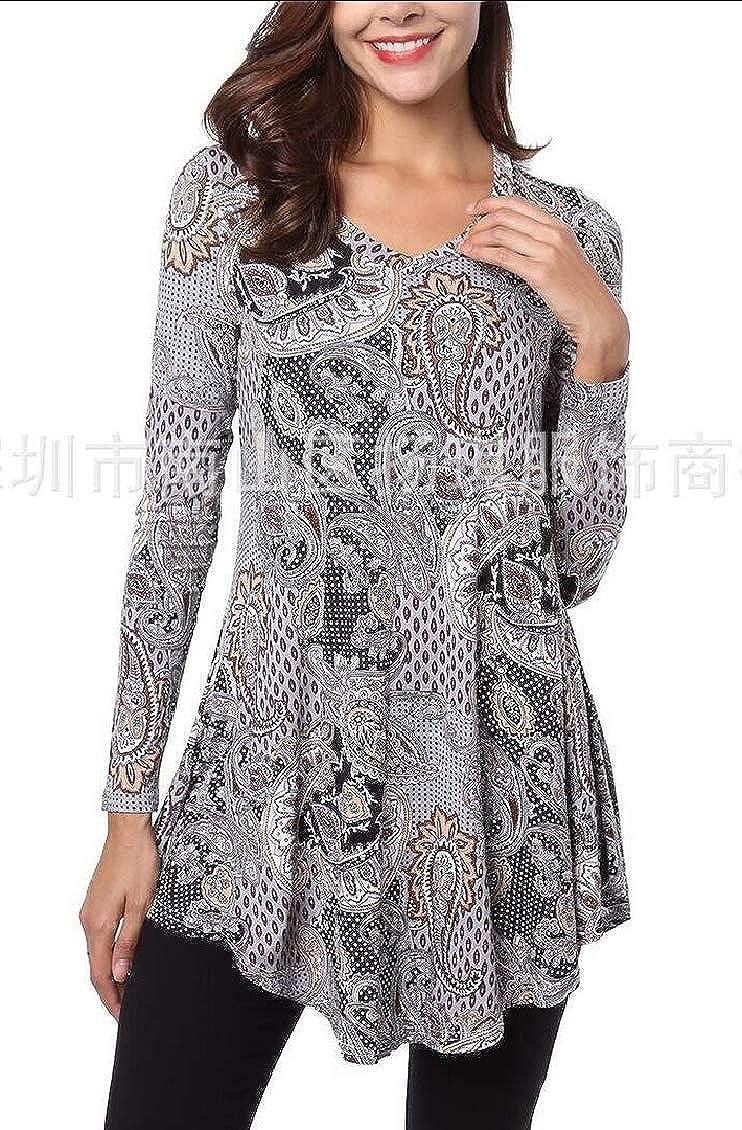 jxfd Womens V Neck Casual Print Swing T Shirt Long Sleeve Tunic