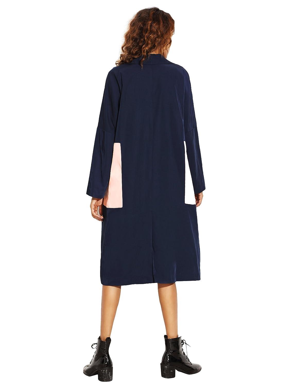 SheIn - Abrigo - Gabardina - Manga Larga - para mujer azul azul marino Small: Amazon.es: Ropa y accesorios