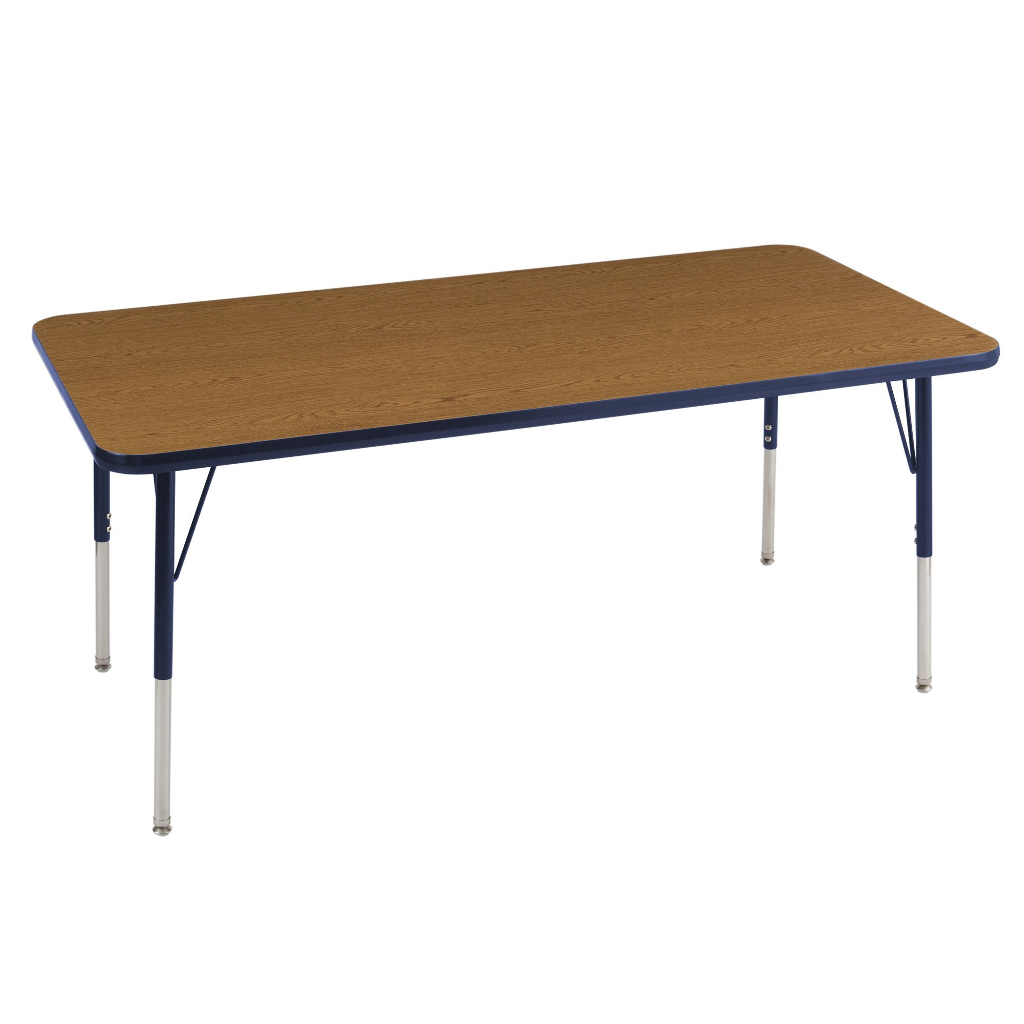 ECR4Kids Mesa Thermo-fused 30'' x 60'' Rectangular School Activity Table, Standard Legs w/ Swivel Glides, Adjustable Height 19-30 inch (Oak/Navy)
