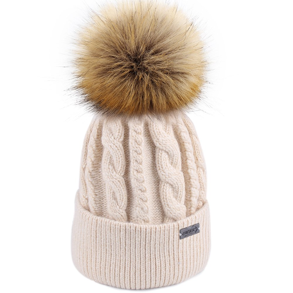 3cf000422ad30 FURTALK Women Winter Pom Knit Hat Cashmere Beanie Caps with Faux Fur Pom Pom  for Girls at Amazon Women s Clothing store