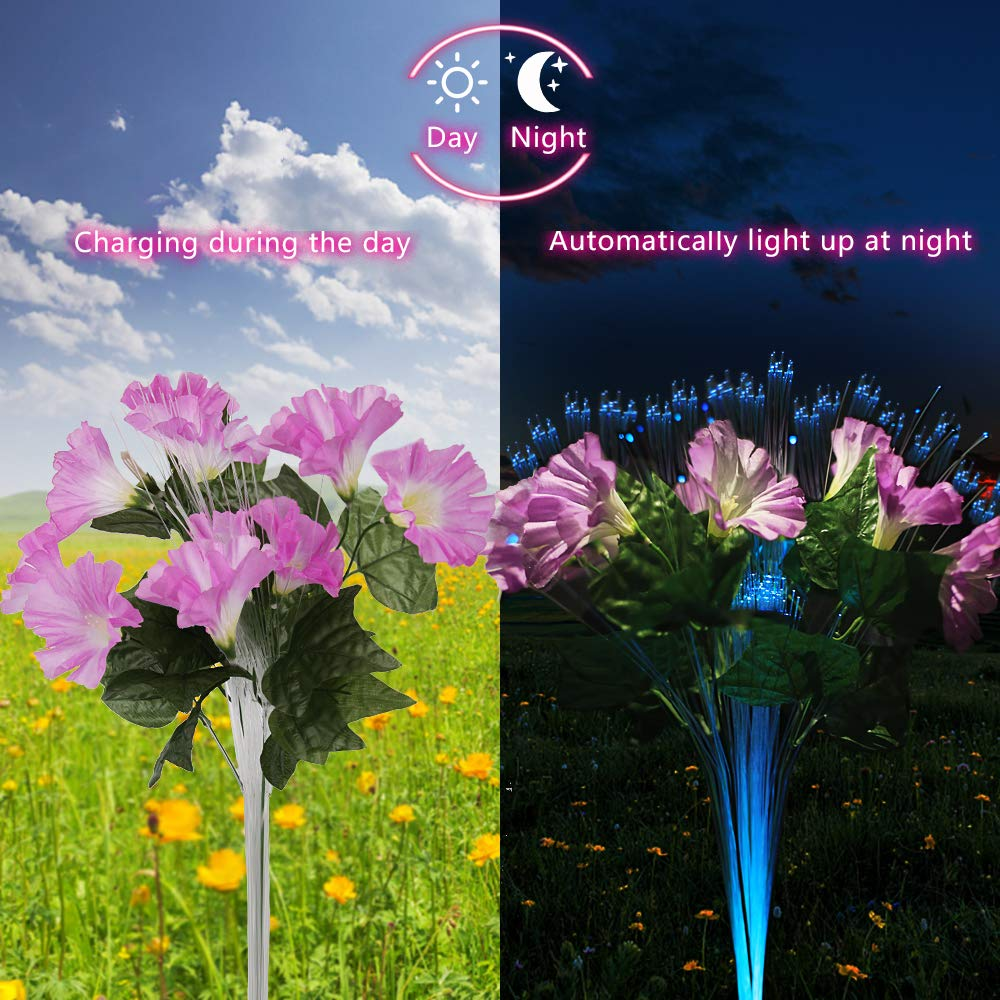 Dapai Solar Garden Lights Outdoor, LED Decorative Solar Flowers Stake Lights  For Garden Yard Patio Lawn Path Decoration, Color Changing, ...