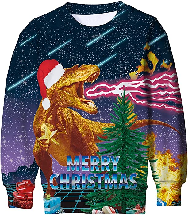 ada4921d17b9 ALISISTER Kids Funny Ugly Dinosaur Christmas Jumpers Sweater 3D ...
