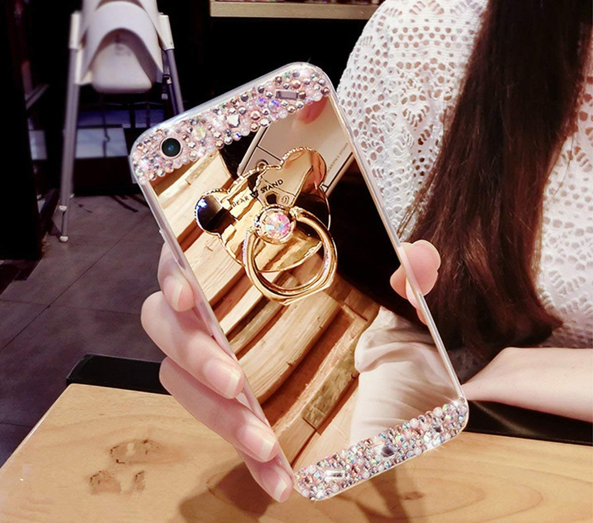 Mirror Makeup Gold Case for iPhone XR,Aoucase Luxury Crystal Rhinestone Glitter Diamond Case with 360 Ring Stand with Black Dual-use Stylus for iPhone XR 6.1 inch