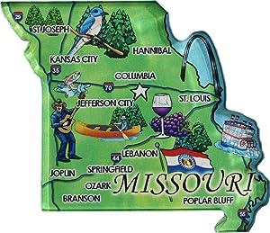 Flagline Missouri - Acrylic State Map Refrigerator Magnet