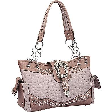 1e4c89467b Dasein Western Style Ostrich Rhinestone Buckle Shoulder Bag (Lilac ...