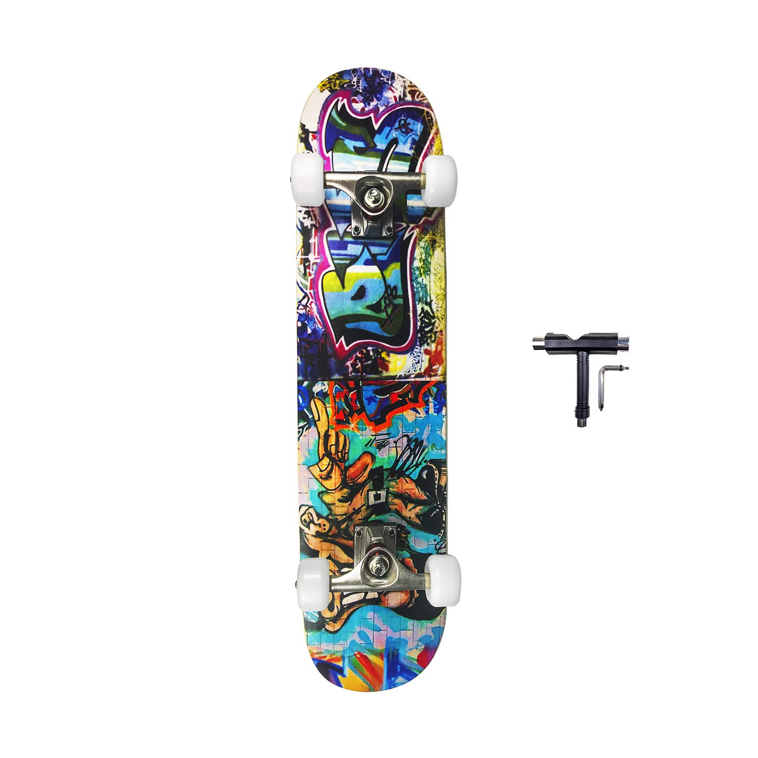 SHINPORT Double Kick 8x31 Inch Skateboard for Youth Adults with Upgraded 54x36mm Wheels for Beginners and Pros for Cruising Carving Freestyle Playing Tricks