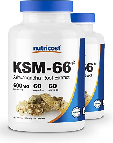 Nutricost KSM-66 Ashwagandha Root Extract 600mg, 60 Veggie Caps 2 Bottles – High Potency 5 Withanolides – with BioPerine