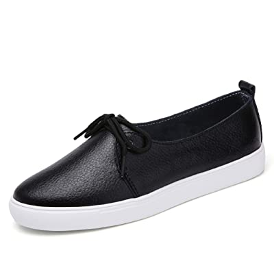 KneaBorn Womens Fashion Leather Loafers Casual Flat Slip on Shoes with Decorative Lace Size | Loafers & Slip-Ons