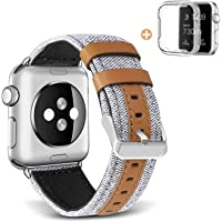 Skylet Canvas Fabric Genuine Leather Straps with Metal Clasp for 42mm/44mm Apple Watch Series 4/3/2/1 (Creamy-White)