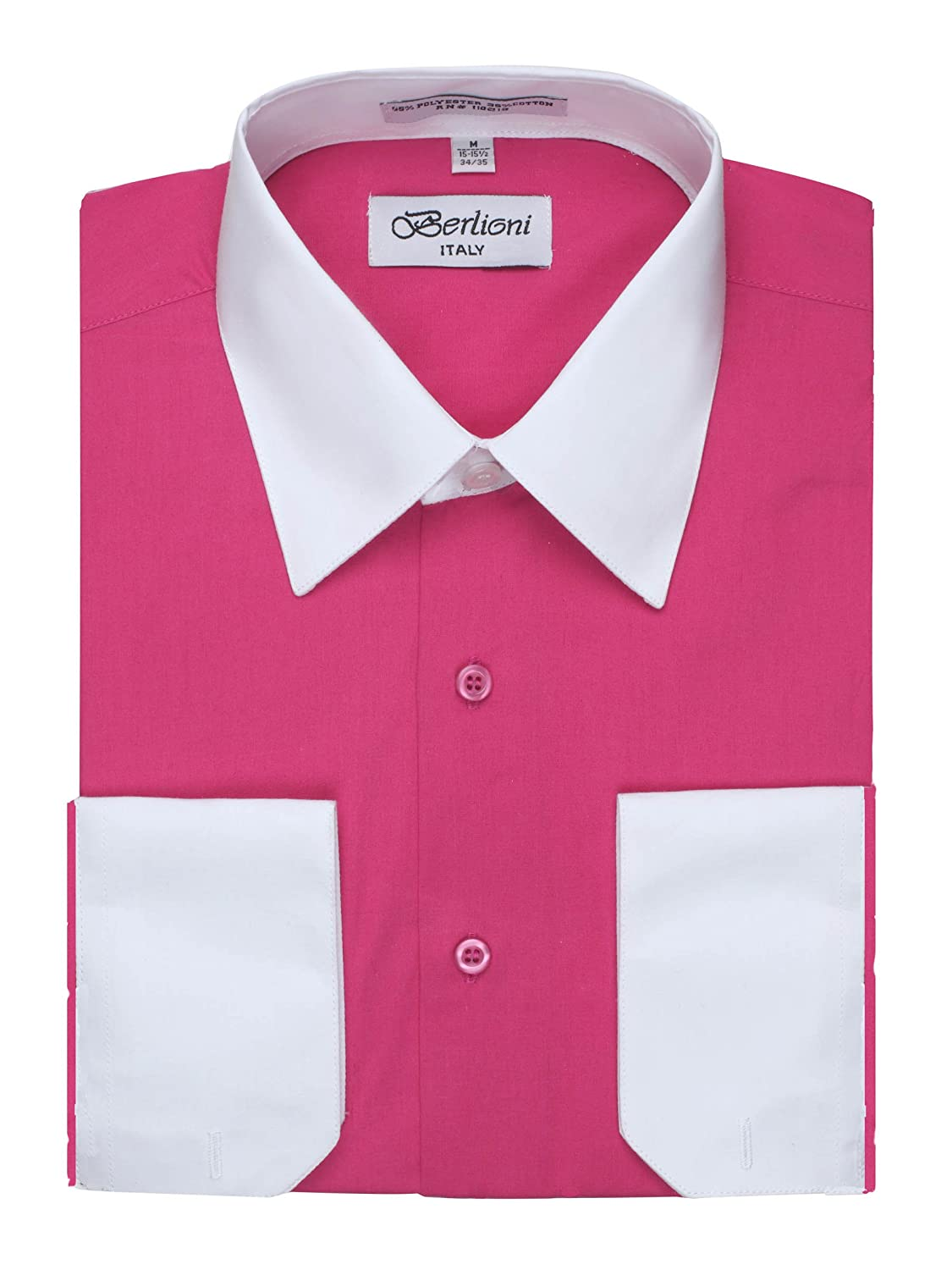 Berlioni Men's Two Toned Dress Shirt with Convertible Faux French Cuffs - Many Colors BL110