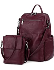 UTO Women Backpack Purse PU Washed Leather Ladies Rucksack Detachable Crossbody Shoulder Bag Red