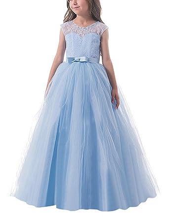 NNJXD NNJXD Mädchen Kinder Spitze Tüll Hochzeit Kleid Prinzessin ...