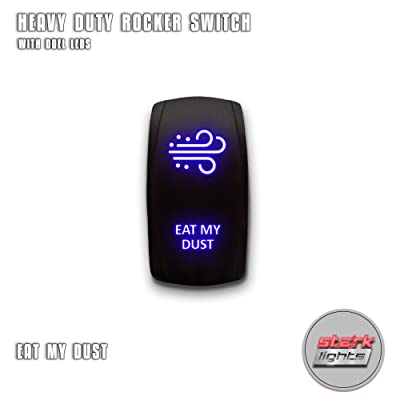EAT MY DUST - Blue - STARK 5-PIN Laser Etched LED Rocker Switch Dual Light - 20A 12V ON/OFF: Automotive