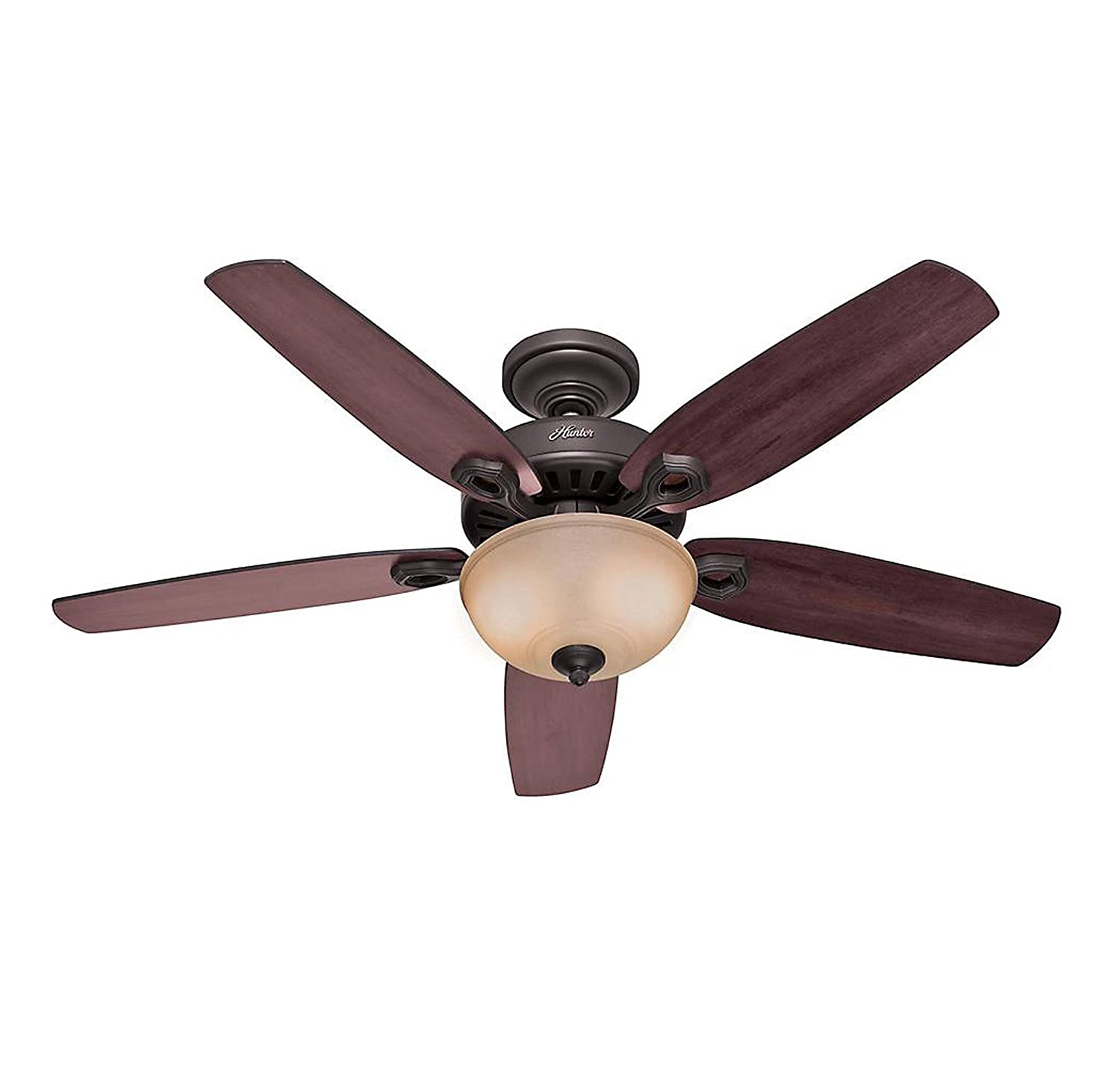 Hunter 53091 Builder Deluxe 5-Blade Single Light Ceiling Fan with Brazilian Cherry/Stained Oak Blades and Piped Toffee Glass Light Bowl, 52-Inch, New Bronze Hunter Fan Company