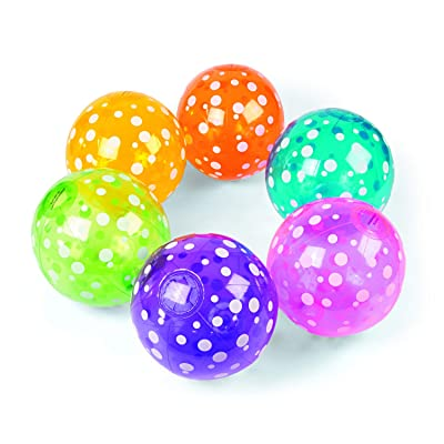 Fun Express Inflatable Polka-Dot Beach Balls (1 Dozen) in 6 Colors, Pool Party, Summer Water Fun and Birthday Parties, Bulk Pack for Adults and Children: Toys & Games