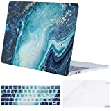 MOSISO MacBook Pro 13 inch Case 2019 2018 2017 2016 Release A2159 A1989 A1706 A1708, Plastic Creative Wave Marble Hard Shell Case&Keyboard Cover&Screen Protector Compatible with MacBook Pro 13, Blue
