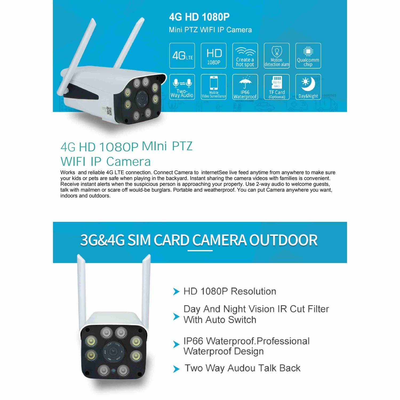 SODIAL 3G 4G Tarjeta SIM CáMara de Seguridad CCTV 1080P HD WiFi ...