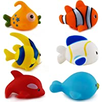 Wish key Chu Chu Colorful Floating Bath Toys for Baby Aquatic Fish Animals Set of 6 Non Toxic BPA Free