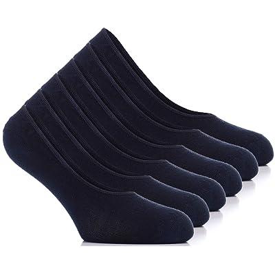 Hugh Ugoli Women's Premium No Show Bamboo Non-Slip Socks, 6 Pairs, Navy Blue, Shoe Size: 6-9 at Women's Clothing store