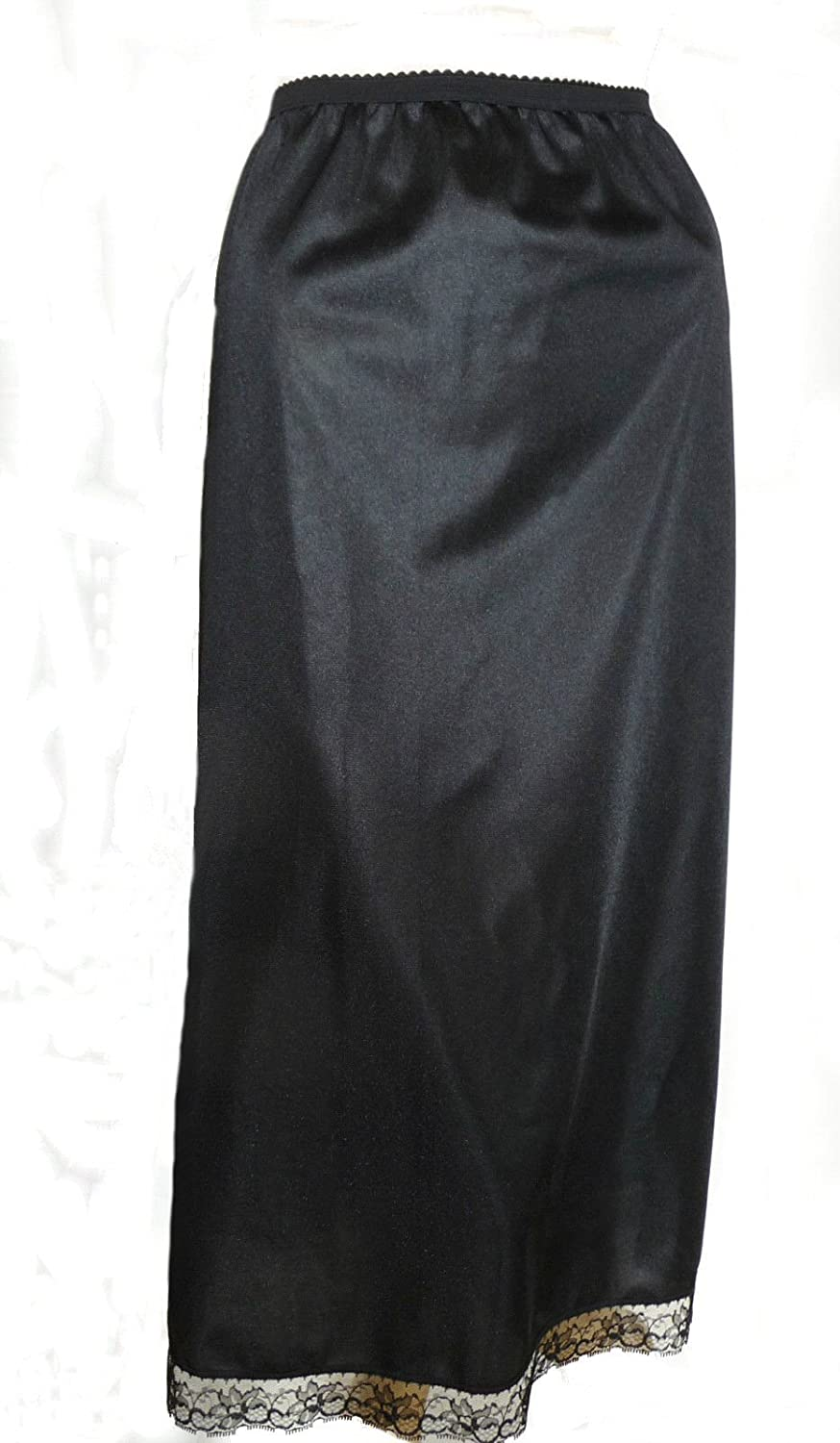 Black Long Half Slip 32 inches Length Size 8/10 Maxi Cling Resist Anti Static