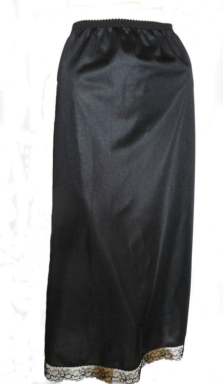 Black Long Half Slip 32 inches Length Size 8/10 Maxi Cling Resist Anti Static