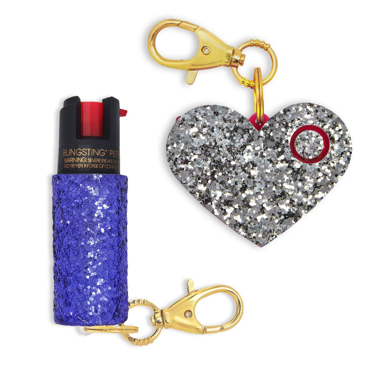 Super-Cute Self Defense Set for Women - Maximum Strength Pepper Spray with UV Marking Dye & Personal Safety Siren Keychain Alarm in Silver & Purple by super-cute pepper spray