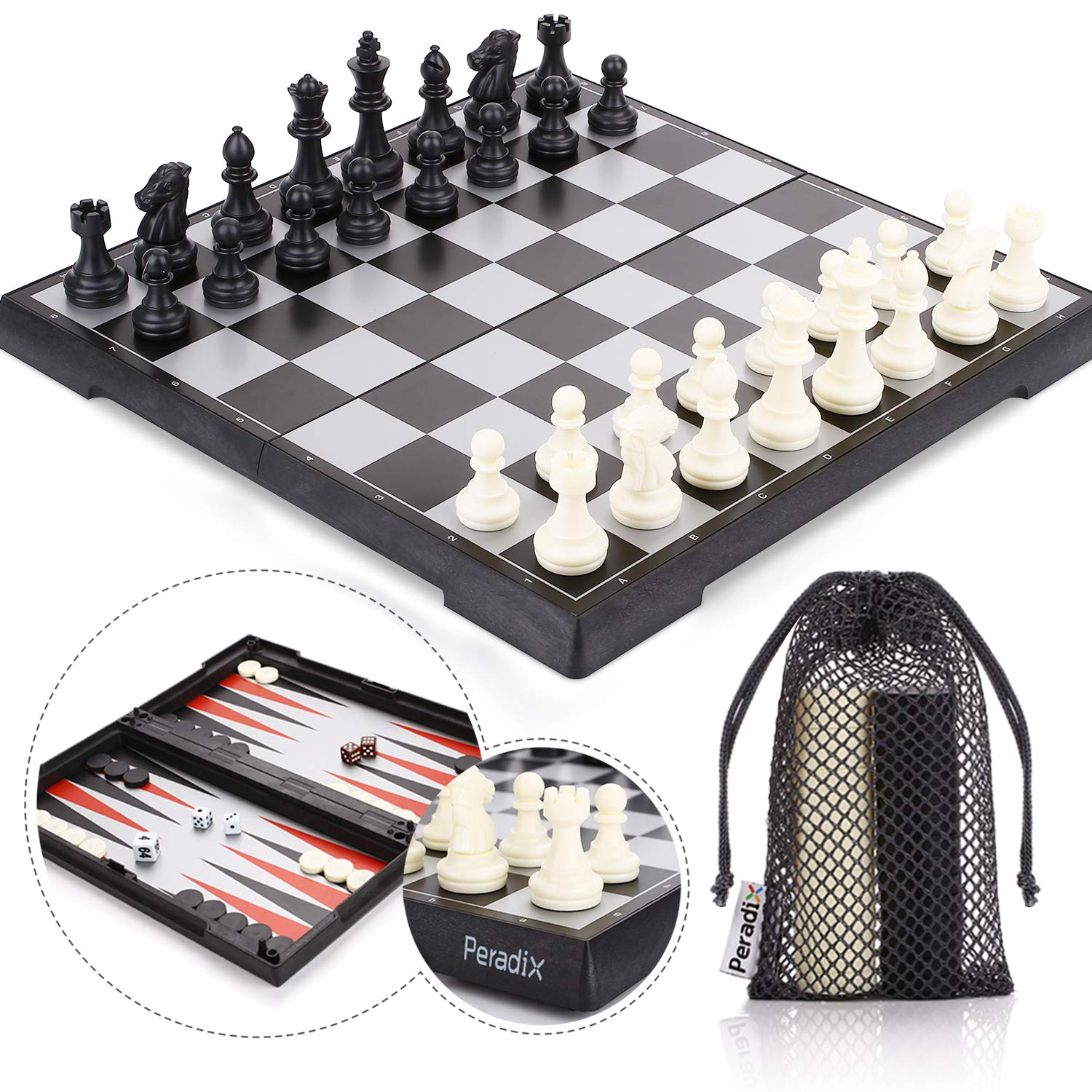 Peradix Magnetic Folding Travel Chess Board, 3 in 1 Staunton Chess Set, Magnetic Chess & Checkers & Backgammon Pieces, Easy to Storage and Carry, Perfect Learning Toys for Kids and Adults