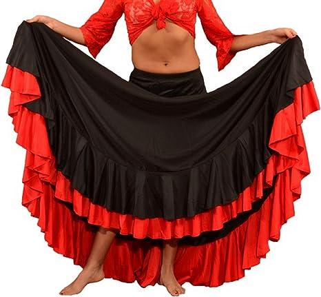 ANUKA Falda Profesional de Mujer para Danza Flamenca. Mucho Vuelo con 7 Metros de Tela. Peso Ideal para los giros. Fabricada en España (Rojo/Negro, L): Amazon.es: Deportes y aire libre