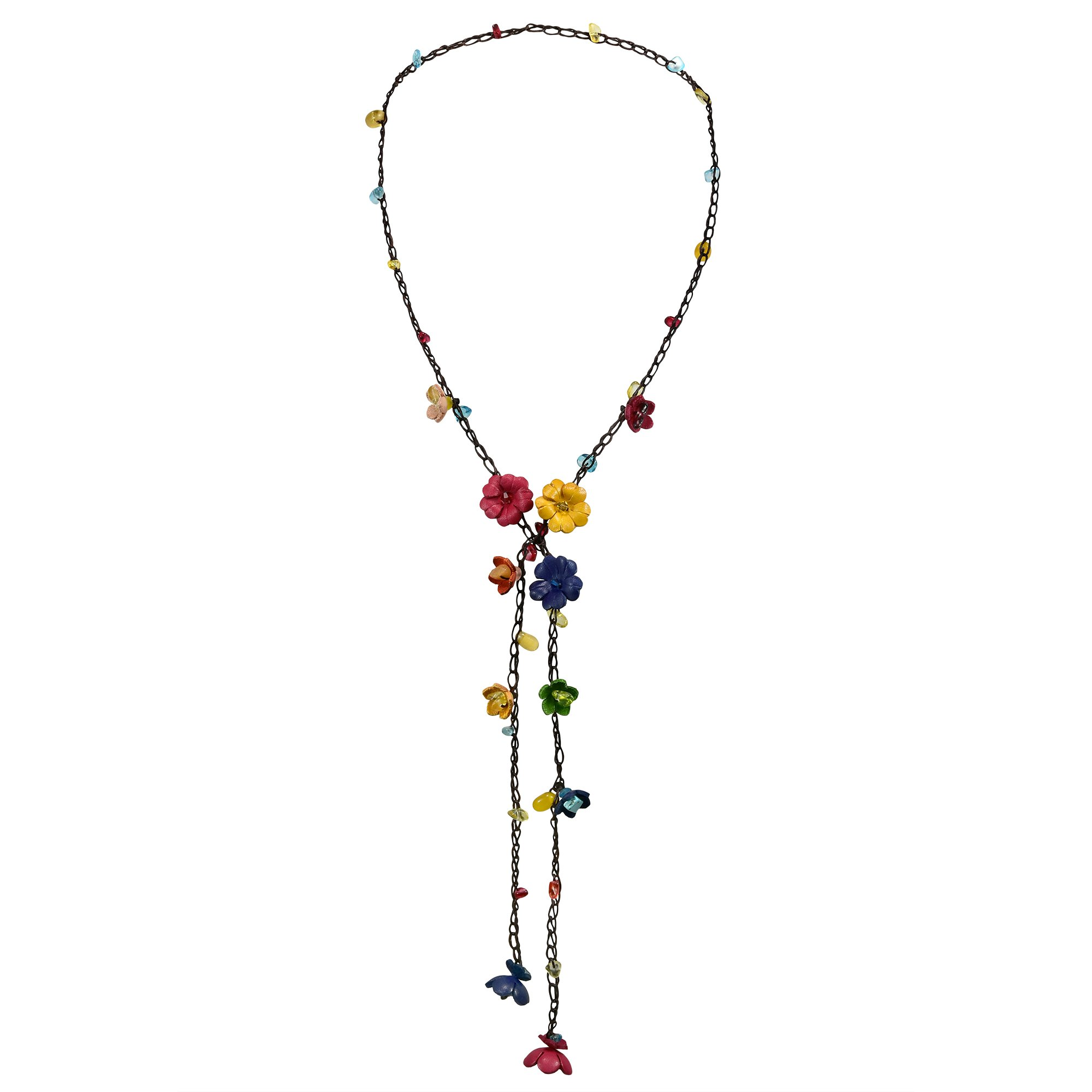 AeraVida Chic Multicolor Daisy Floral Mix Stone Genuine Leather Lariat Wrap Necklace
