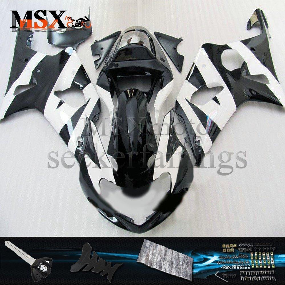 MSX-moto 適応ホンダ Suzuki GSXR1000 K1 00 01 02 GSXR 1000 2000 2001 2002年 外装パーツセット ABS射出成型完全なオートバイ車体 白/ホワイト&黒/ブラックのボディ   B07F27JDYY