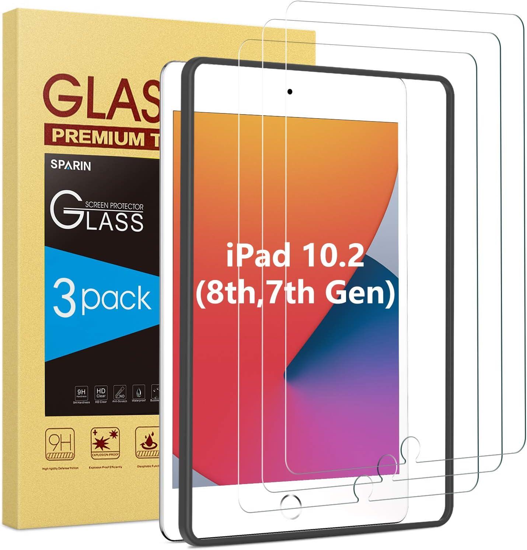 SPARIN Protector Pantalla iPad 8 generacion/ iPad 7 generacion, [3 Piezas] Protector Pantalla Cristal Templado iPad 10.2 2020/ 2019 [marco de alineación] [9H Dureza] Vidrio Templado iPad 10,2 Pulgadas