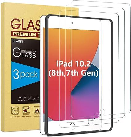 Image of SPARIN Protector Pantalla iPad 8 generacion/ iPad 7 generacion, [3 Piezas] Protector Pantalla Cristal Templado iPad 10.2 2020/ 2019 [marco de alineación] [9H Dureza] Vidrio Templado iPad 10,2 Pulgadas